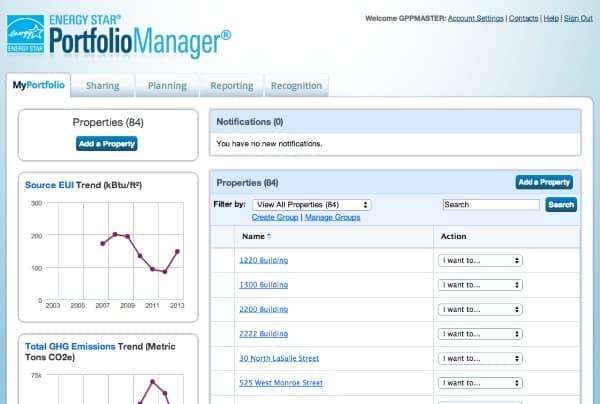 energy star portfolio manager screen shot