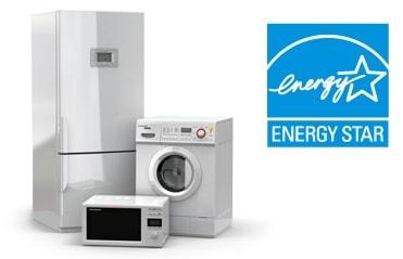 energy star appliances: efficienct refrigerator, washing machine, microwave