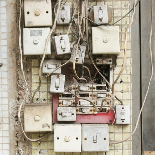 Jumble of electrical switches