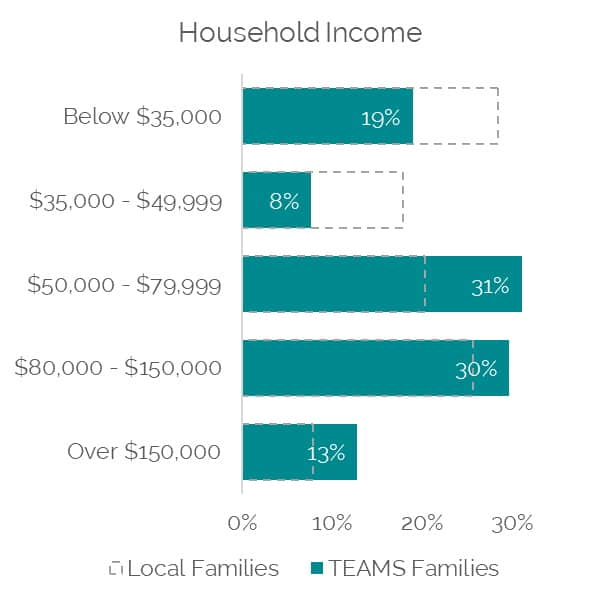 chart of TEAMS participants by household income