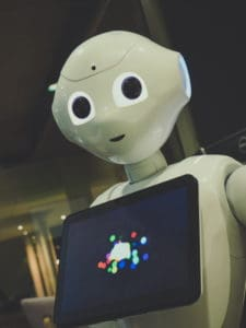 robot with tablet on its chest